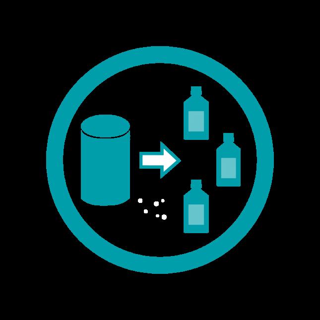 Dry powder rehydration service
