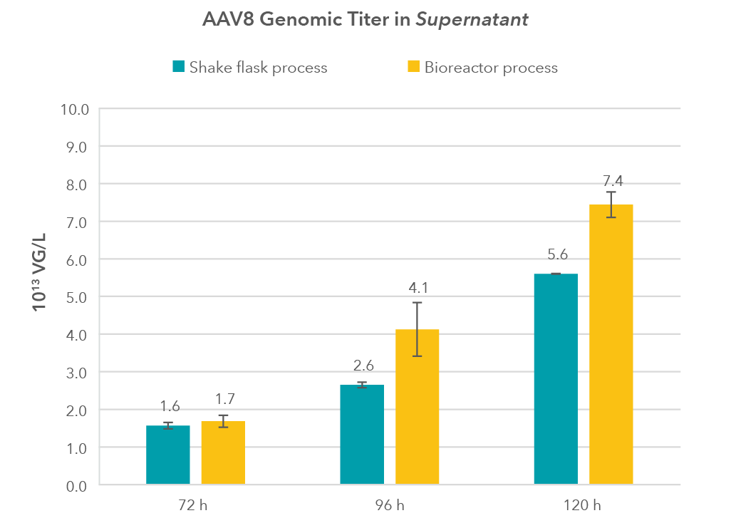 Figure. 1 Comparison of AAV8 genomic titers in supernatants of HEK293 cells cultivated in Xell's HEK ViP NX medium-01
